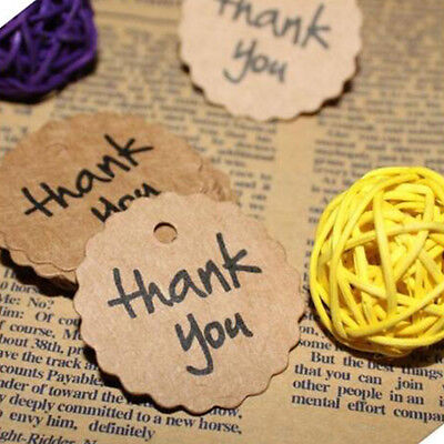 100Pcs Thank You Wedding Brown Kraft Paper Tags Bonbonniere Favor Gift Tag Decor