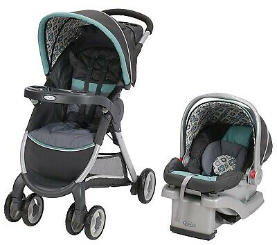 Graco Baby FastAction Fold Travel System Stroller w/ Infant Car Seat Affinia NEW