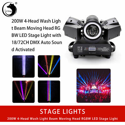 U`King 200W 4Head Beam Moving Head RGBW Stage Light DMX512 DJ Show KTV Bar Disco