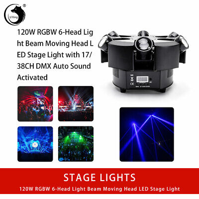 U`King 120W RGBW 6Head Beam Moving Head Stage Lights DMX512 Disco DJ Party Show