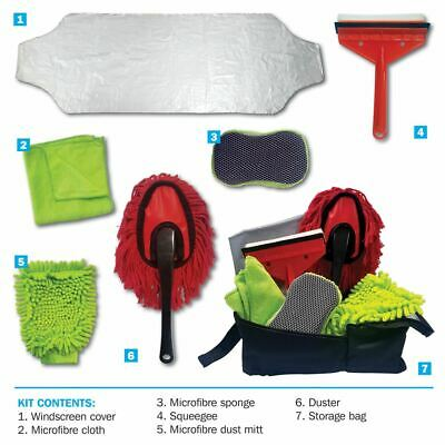 7 pcs Car, Motorbike & Caravan Wash Cloth, Sponge, Squeegee & Mitt Cleaning Kit