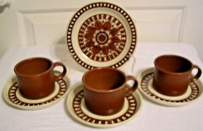 Wedgwood Midwinter MEDALLION 3 cup and saucers set 1 side plate