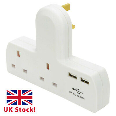 2 Way Gang Extension Multi Plug In Mains Socket Adapter with 2x USB Charge Port