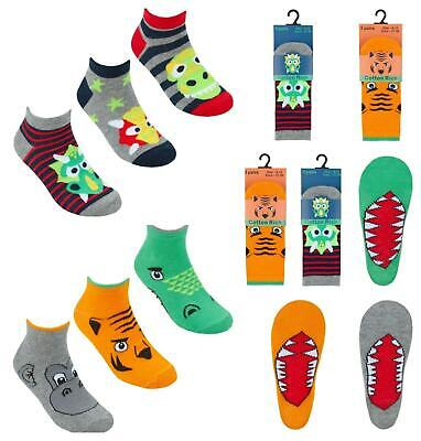 Boys Trainers Sock Trainer Liners Bright Designs 6-8.5 9-12 12.5-3.5 Fun to Wear