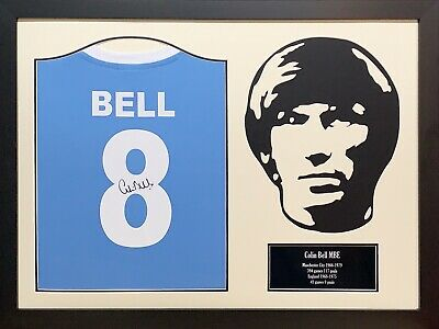 Framed Colin Bell Signed Mcfc Manchester City Football Shirt With  Proof & Coa