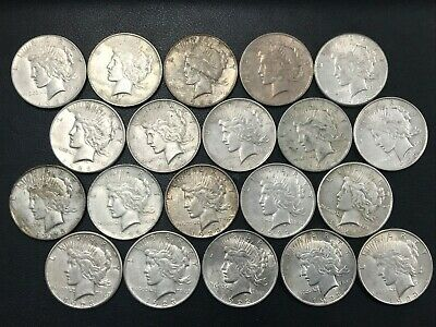 Silver Peace Dollar Lot 20 Average Circulated Mixed Date Coins 90% Silver *O1