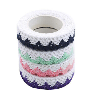 Cloth Fabric Lace Tape Flower Trim Ribbon Sticky Craft Album DIY Decor