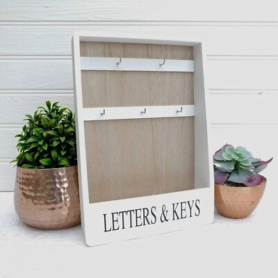 WHITE Rustic Chic Style LETTERS & KEYS Wooden Storage Hooks Rack TIDY Organiser