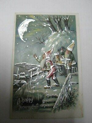 Old Santa Claus Elf  Post Card USED Germany Early 1900s Embossed New Year