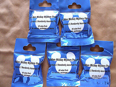 Disney* 5 PACKS HIDDEN MICKEY MYSTERY PINS - BLUE * NEW SEALED Mystery Pack Pins