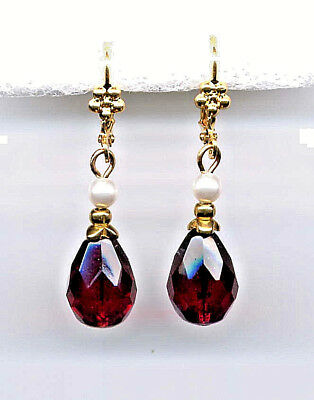 Bohemian Garnet Teardrop Crystal Seed Pearl Earrings 14k Gold Gp Vintage Czech