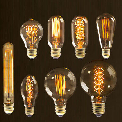Industrial Vintage Edison Filament Lightbulb Squirrel Cage E27 40W Antique Style