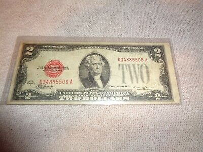 "1928-E $2 ""Red Seal"" Small United States  TWO DOLLAR BILL Note"