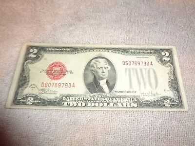 "1928-F $2 ""Red Seal"" Small United States  TWO DOLLAR BILL Note"