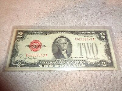 "1928-G $2 ""Red Seal"" Small United States  TWO DOLLAR BILL Note"