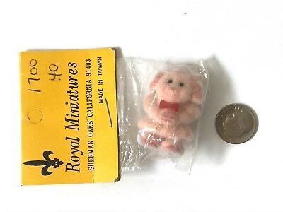 Vintage Pink Fuzzy Flocked Chenille Miniature Dollhouse Toy 1:12 Girl Doll NOS