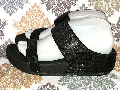 2f2f888dc9c5 Fitflop Lulu Superglitz Black Slides Sandals 638-001 Women s Size 8   39