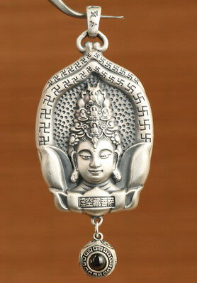 30g Big fine silver 999 Hand-Carved buddha kwan-yin Statue pendant necklace