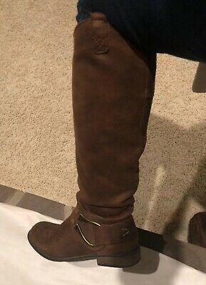 cb56bf180 Women's Target Brown Faux Suede Leather Knee High Boots Pull On Style Size 9