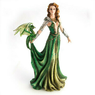 Beautifully Finished, Hand Painted Green Dragon Warrior Princess Figurine