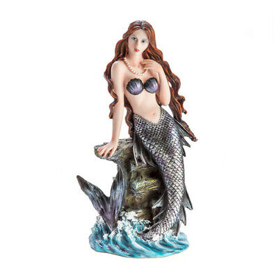 Black-scaled Mermaid Red Hair Mysterious Pearl Necklace Figure Ariel Sculpture