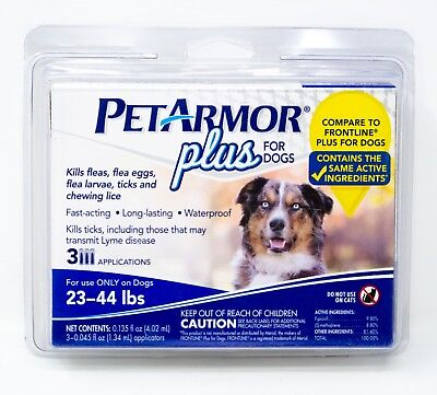 NEW! PetArmor Plus for DOGS Flea and Tick 23-44 lb. 3 APPLICATIONS