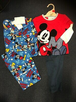 Unisex Boys Baby Size 1 Pyjamas Mickey Mouse Cotton Flannel BNWT