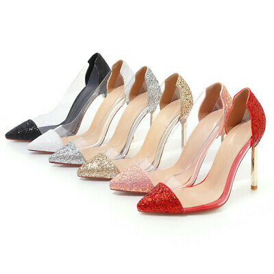 6140fe39fd0 Women Glitter PVC Transparent Pointed Pumps Stilettos High Heel Dress Party  Shoe