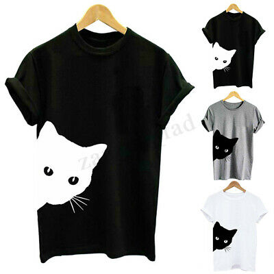 Summer Women Short Sleeve Cat Animal Printed Casual Loose Tops Tee Shirt Blouse