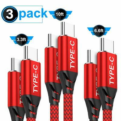 USB C to USB C Cable 3A 3-Pack (3.3ft+6.6ft+10ft),AkoaDa USB Type C Fast Charger