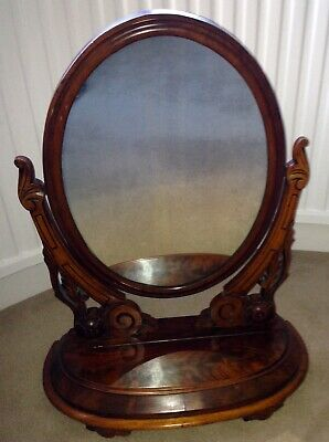 Antique Victorian Carved Mahogany Freestanding Mirror