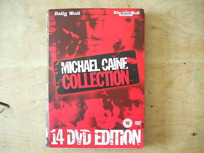 Set Of 14 Daily Mail Michael Caine Collection Dvd Movies In Storage Box