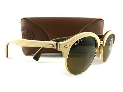 c63fae200e Ray-Ban Sunglasses RB4246M Clubround Wood Polarized 1179 57 Authentic New