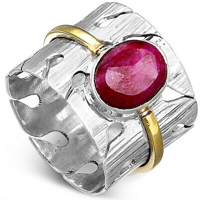 Ruby Ring Solid Sterling Silver 925 Wide Band with Pink Stone Two Tone Size 8 9
