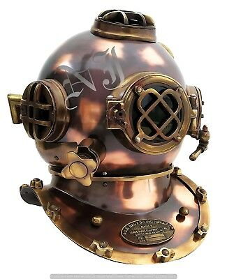 "Antique Finish Scuba Diving Helmet 18"" Full Size Divers Marine Collectible Gift"
