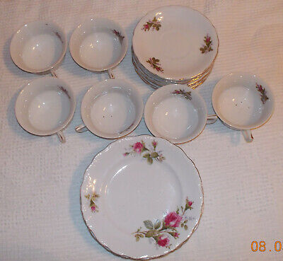 CHINA SET of 6 CUPS, 8 SAUCERS & 6 Small Plates/ROSE DESIGN GOLD TRIM Japanese