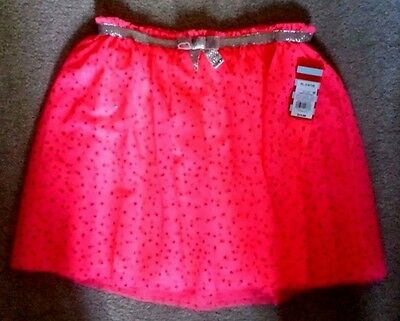 db300ff96 Cat & Jack Tutu Tulle Skirt Girls Hot Pink Tulle with Red Hearts XL 14/