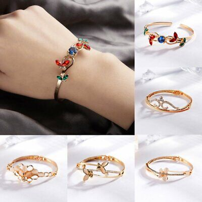 Lady Elegant Stainless Steel Crystal Butterfly Bangle Bracelet Wristband Jewelry