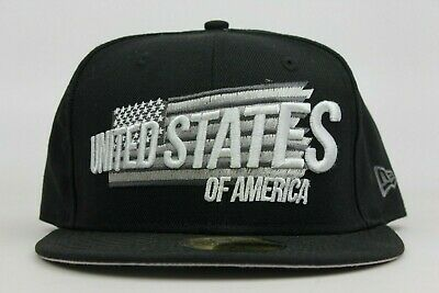 United States of America USA US Black Grey White New Era 59Fifty Fitted Hat Cap