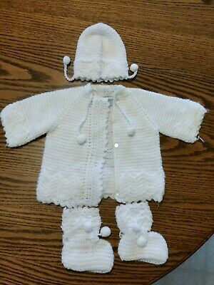 Vintage Baby Knitted Sweater Jacket Hat and Booties 3 Pc Set White Baby Clothes