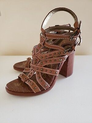 c2ef88971 Sam Edelman Keith Cognac Tan Studded Leather Stacked Heel Sandals Size 8M  EUC