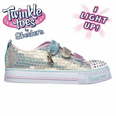 Skechers Kids Girls Twinkle Toes MM Canvas Light Up Shoes Low Fashion Trainers