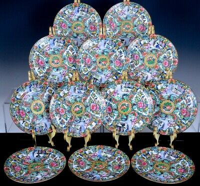 12 Fine Chinese Mardarin Famille Rose Gold Gilt Figural Lunch Snack Side Plates