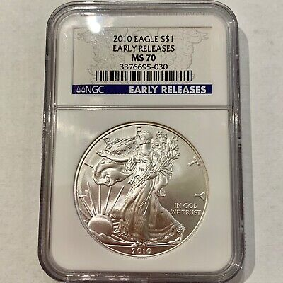 2010 $1 American Silver Eagle Coin Early Releases NGC MS70 #3376695-030