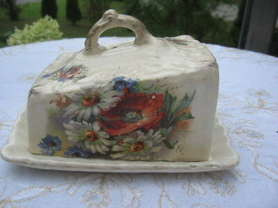 Antique Victorian covered cheese dish/tray English Porcelain 1870 to early 1900