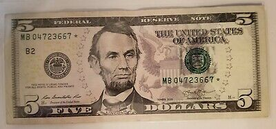 2013 (B) $5 Five Dollar Bill Federal Reserve Note New York Star Note