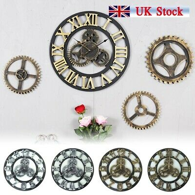 Large Metal Skeleton Wall Clock Antique gold Home Decor Round Indoor & Out Tool