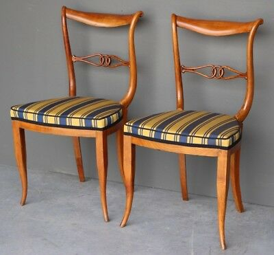 Very rare pair of ornate Biedermeier chairs large seats curved backs Vienna 1820
