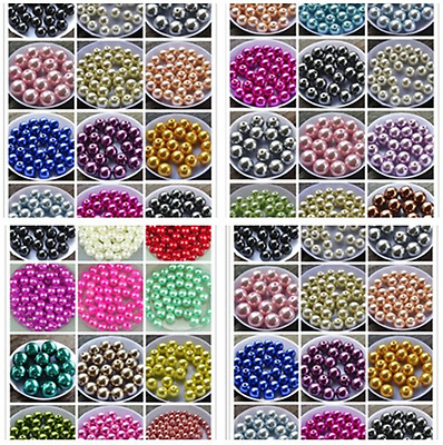 wholesale 4 / 6  / 8 / 10 mm  Glass Pearl Round Spacer Artificial Loose Beads