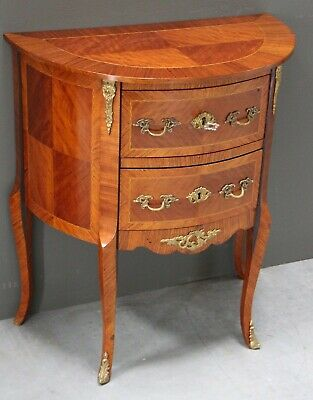Antique small marquetry hallway chest bedside table inlaid French Louis vintage